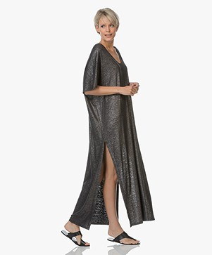 Majestic Jersey Kaftan Dress with Lurex - Metal Black
