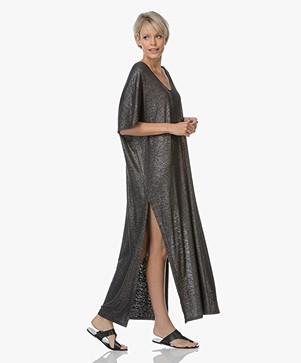 Majestic Filatures Jersey Kaftan Dress with Lurex - Metal Black