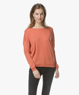 Marie Sixtine Bleuet Fine Knitted Pullover - Terracotta