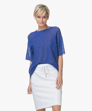Drykorn Dea Ajour Gebreid T-shirt - Kobaltblauw