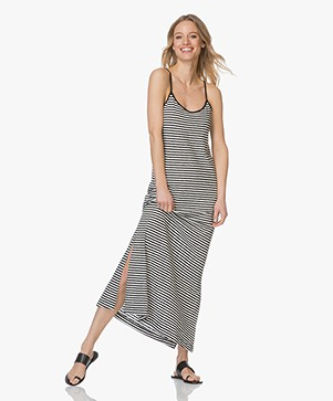 Leï 1984 Daphnee Striped Maxi Dress - Black/Ecru