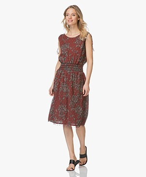 MKT Studio Ripily Chiffon Flower Dress - Burgundy