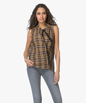 Vanessa Bruno Eckley Checkered Silk Blend Top - Safari