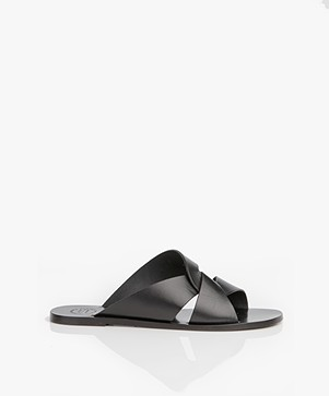 ATP Atelier Allai Leather Slipper Sandals - Black