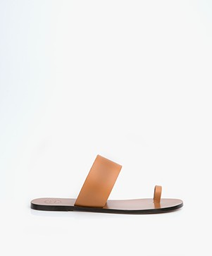 ATP Atelier Astrid Leather Toe Slipper Sandals - Terra