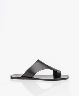 ATP Atelier Roma Leather Toe Slipper Sandals - Black