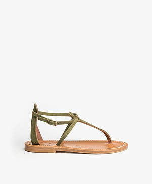 K. Jacques St. Tropez Buffon Suede Leather Sandals - Khaki Green