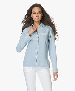 Denham Mazarine Denim Blouse - Washed Indigo