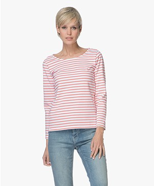 Plein Publique Striped Long Sleeve L'Aimee - White/Coral