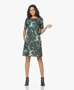 Kyra & Ko Elodie Printed Poplin Dress - Bottle