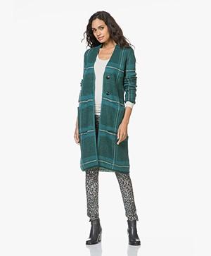 Kyra & Ko Iris Mohairmix Jacquard Vest met Ruitdessin - Turquoise