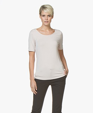 Repeat Viscose T-shirt met Ronde Hals - Beige