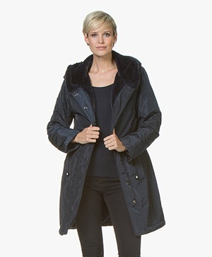 no man's land Parka with Faux Fur Lining - Dark Sapphire