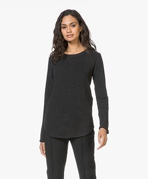 Denham Icicle Sweater in Cotton Fleece - Zwart Mêlee