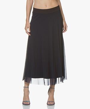 no man's land Mesh Midi Skirt - Dark Sapphire