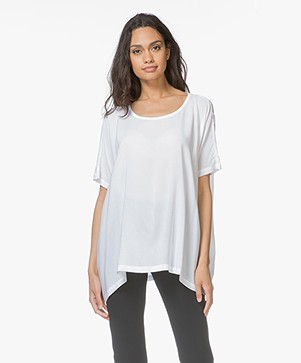 Denham Scout Woven Viscose T-shirt - Optic White