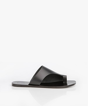 ATP Atelier Rosa Leather Slipper Sandals - Black