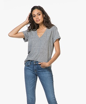 Current/Elliott The V-Neck Tee - Grijs Mêlee