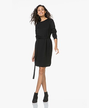 Sibin/Linnebjerg Juliette Sweater Dress with Optional Turtleneck Collar - Black