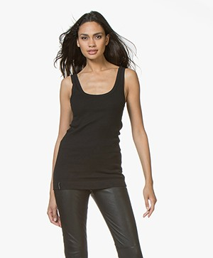 By Malene Birger Ribbed Tank Top Newdawn - Black