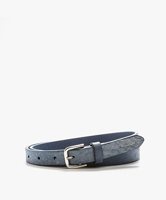 Closed Thin Leather Belt - Dove