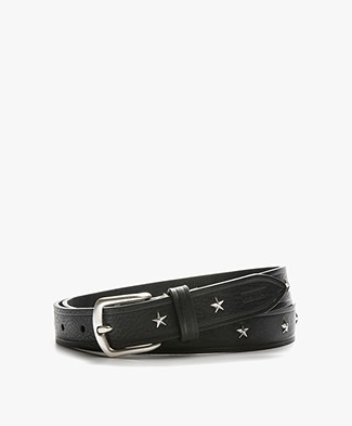 Closed Leather Belt with Star Studs - Black