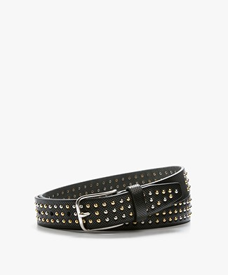 Closed Leather Belt with Studs - Black