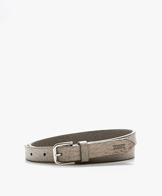 Closed Thin Leather Belt - Dryed Reed