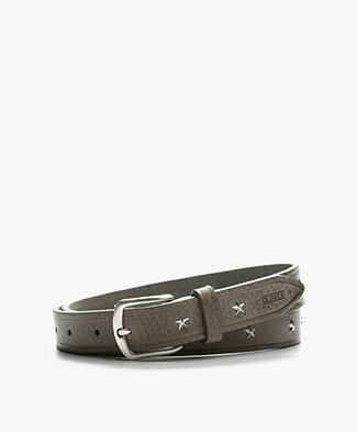 Closed Leather Belt with Star Studs - Natural