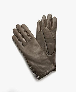Filippa K Zip Leather Gloves - Khaki Green