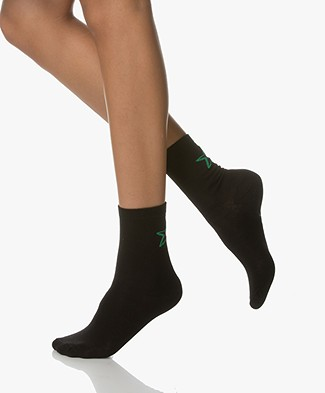 BY-BAR Socks with Lurex Star - Black/Green
