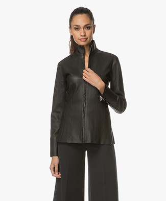 By Malene Birger Stretchy Leather Jacket - Black