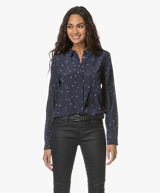 Closed Mathilda Silk Printed Blouse - Navy