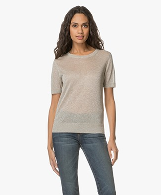 Closed Fine Knitted T-shirt with Lurex - Greige
