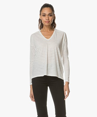 Closed Burnout Striped Long Sleeve - Blanched Almond