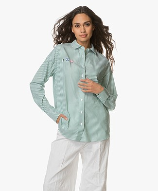 FWSS Speed Racer Oversized overhemdblouse - Green stripe
