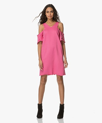 Fine Edge Cold-shoulder French Terry Dress - Chateau Rose