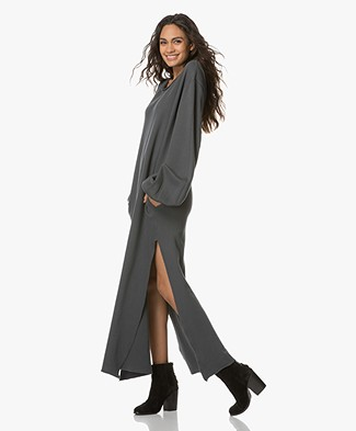 Fine Edge Maxi Sweater Dress with High Side Slits - Anthracite