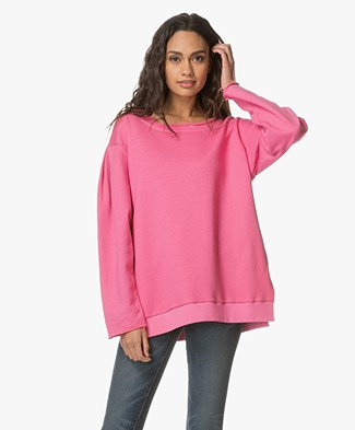 Fine Edge Oversized Sweatshirt in Cotton - Chateau Rose