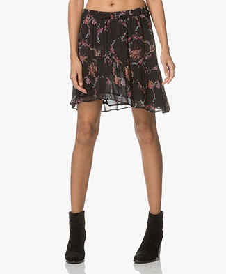 IRO Lilie Ruffle Skirt with Floral Print - Black/Pink