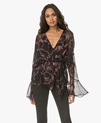 IRO Linette Ruffle Blouse with Floral Print - Black/Pink