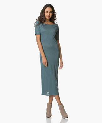 Majestic Linen Jersey Dress with Silk - Blue Corse