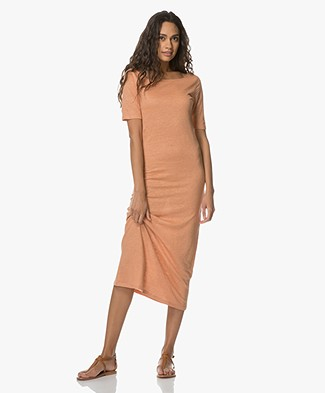 Majestic Linen Jersey Dress with Silk - Tan