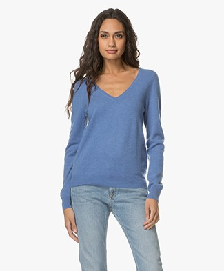 Repeat Cashmere V-Neck Pullover - Blue