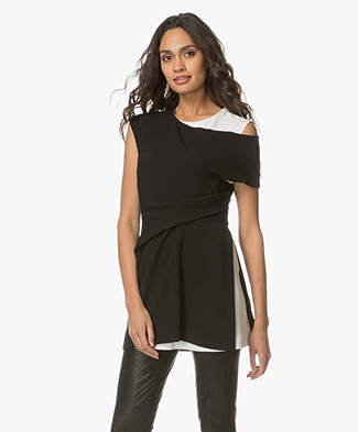 Sportmax Tela Double-layered Asymmetric Top - Black/White