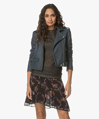IRO Ashville Leather Biker Jacket - Industrial Blue