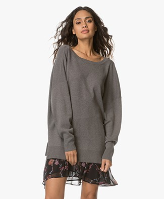 IRO Durson Sweater with V-neck at Back - Stone Grey