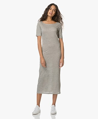 Majestic Linen Jersey Dress with Silk - Grey Melange