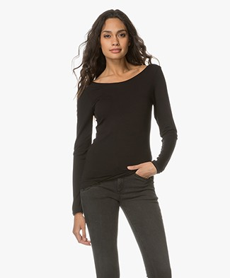 Majestic Supersoft Low Back Long Sleeve - Black