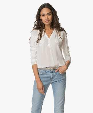 Project AJ117 Blouse Moe with V-split Neck - Chalk